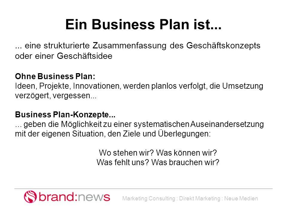 Ein Business Plan ist... ... eine strukturierte Zusammenfassung des Geschäftskonzepts oder einer Geschäftsidee.