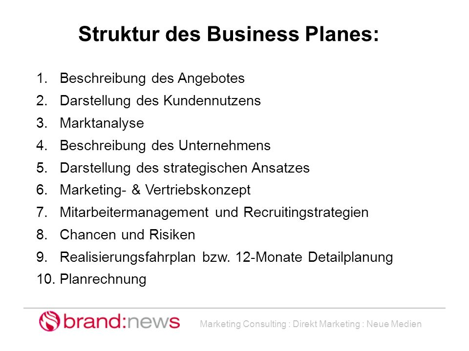 Struktur des Business Planes: