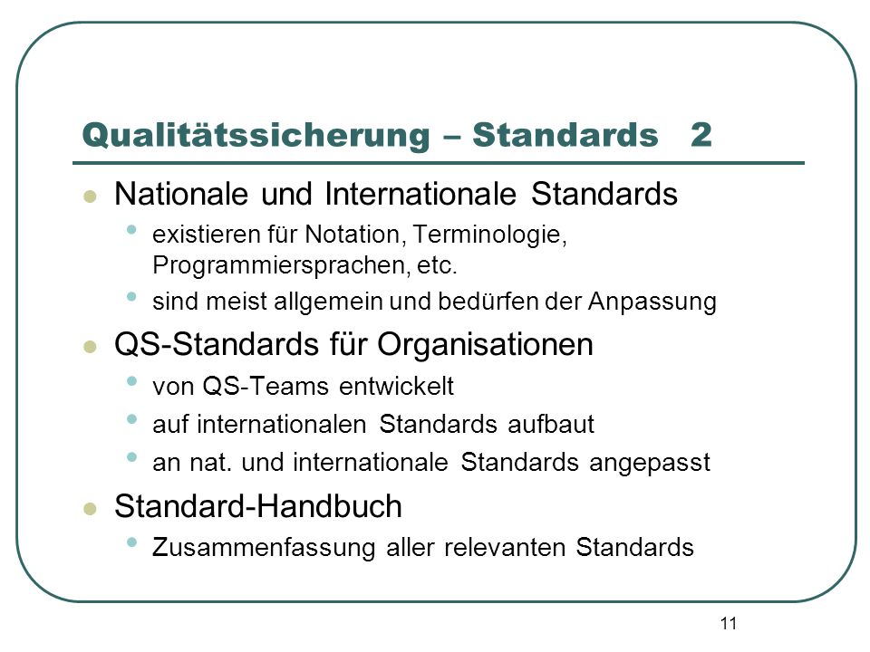 Qualitätssicherung – Standards 2