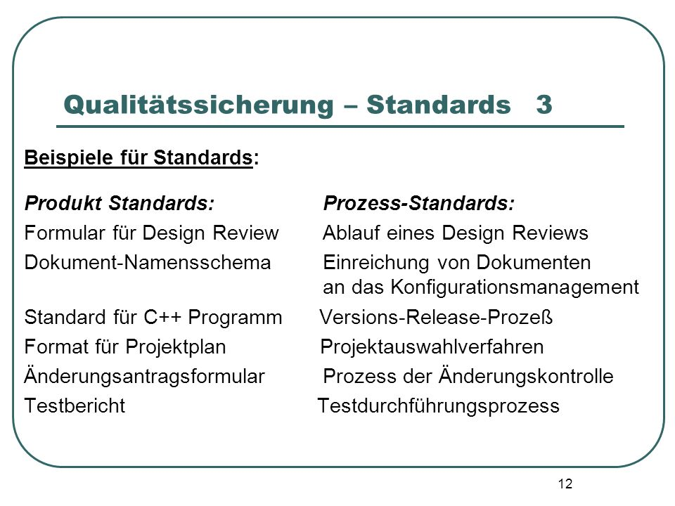 Qualitätssicherung – Standards 3