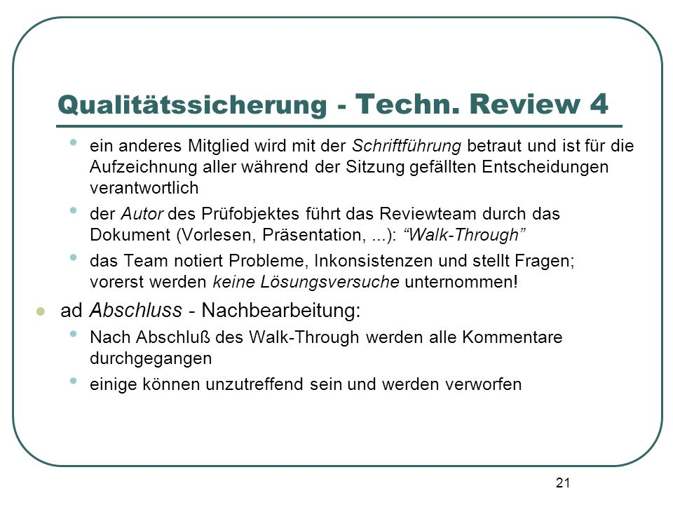 Qualitätssicherung - Techn. Review 4