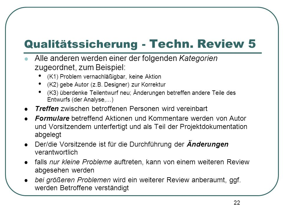 Qualitätssicherung - Techn. Review 5