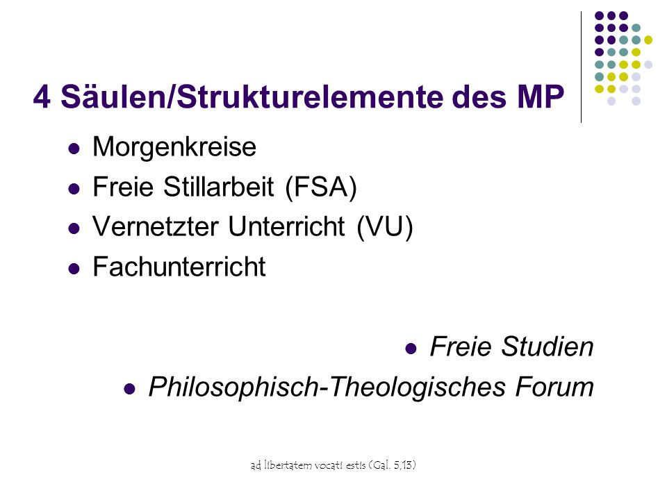 4 Säulen/Strukturelemente des MP