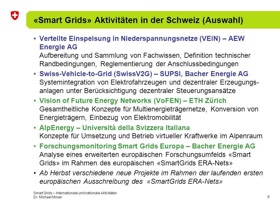 «Smart Grids» Aktivitäten in der Schweiz (Auswahl)