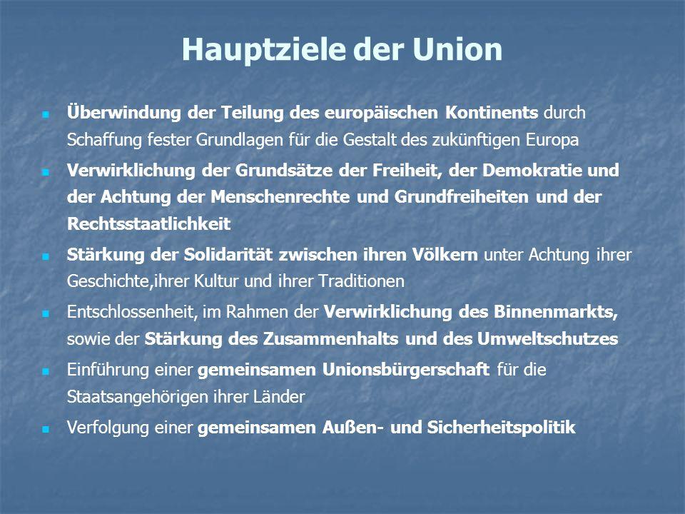 Hauptziele der Union Überwindung der Teilung des europäischen Kontinents durch Schaffung fester Grundlagen für die Gestalt des zukünftigen Europa.