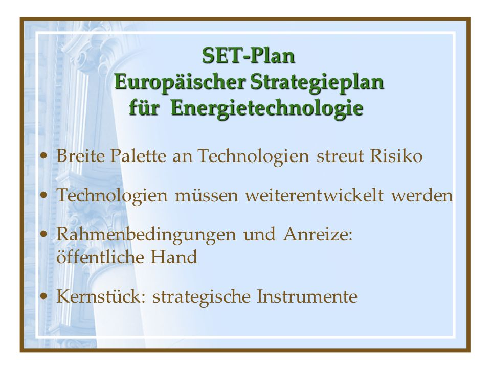 SET-Plan Europäischer Strategieplan für Energietechnologie