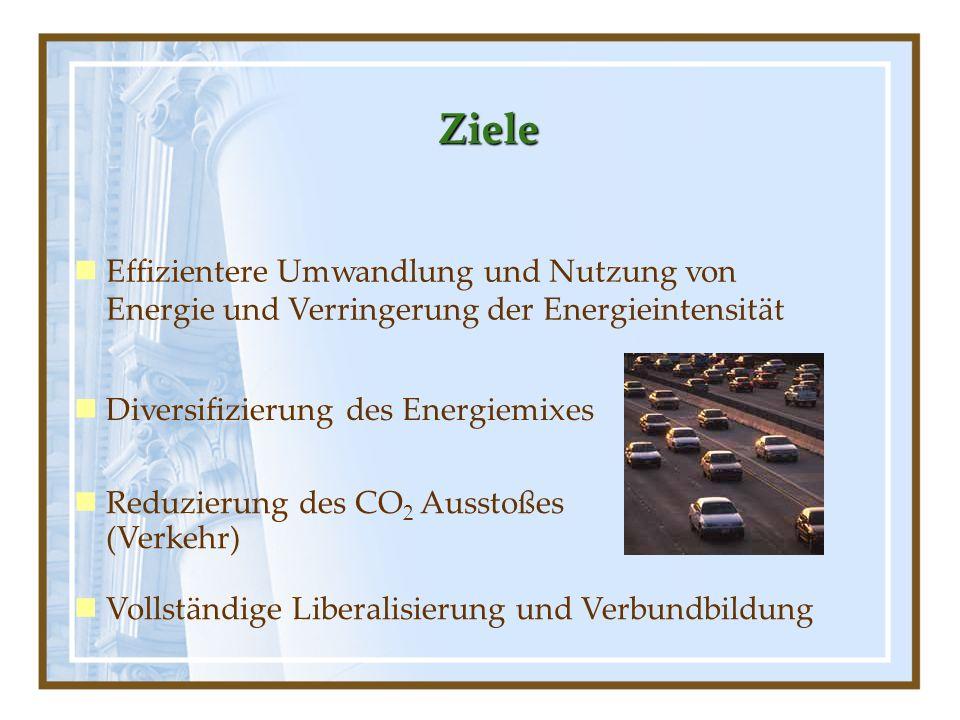 Ziele Effizientere Umwandlung und Nutzung von Energie und Verringerung der Energieintensität. Diversifizierung des Energiemixes.