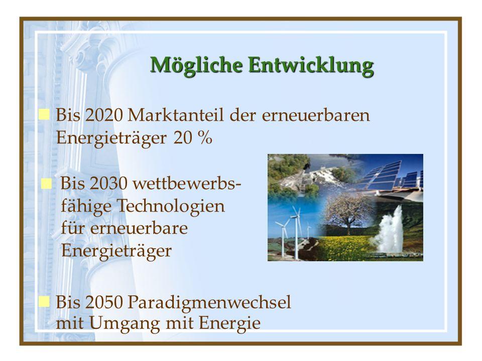 Mögliche Entwicklung Bis 2020 Marktanteil der erneuerbaren Energieträger 20 %