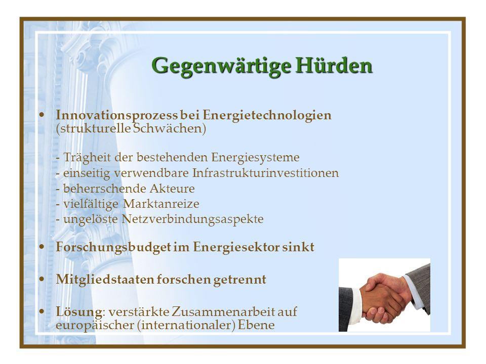 Gegenwärtige Hürden Innovationsprozess bei Energietechnologien (strukturelle Schwächen) - Trägheit der bestehenden Energiesysteme.