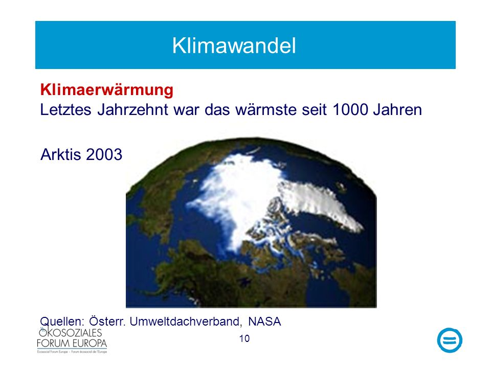 Klimawandel Klimaerwärmung Letztes Jahrzehnt war das wärmste seit 1000 Jahren.