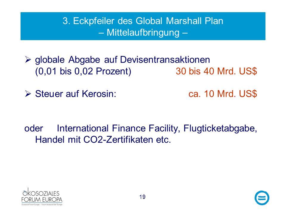 3. Eckpfeiler des Global Marshall Plan – Mittelaufbringung –