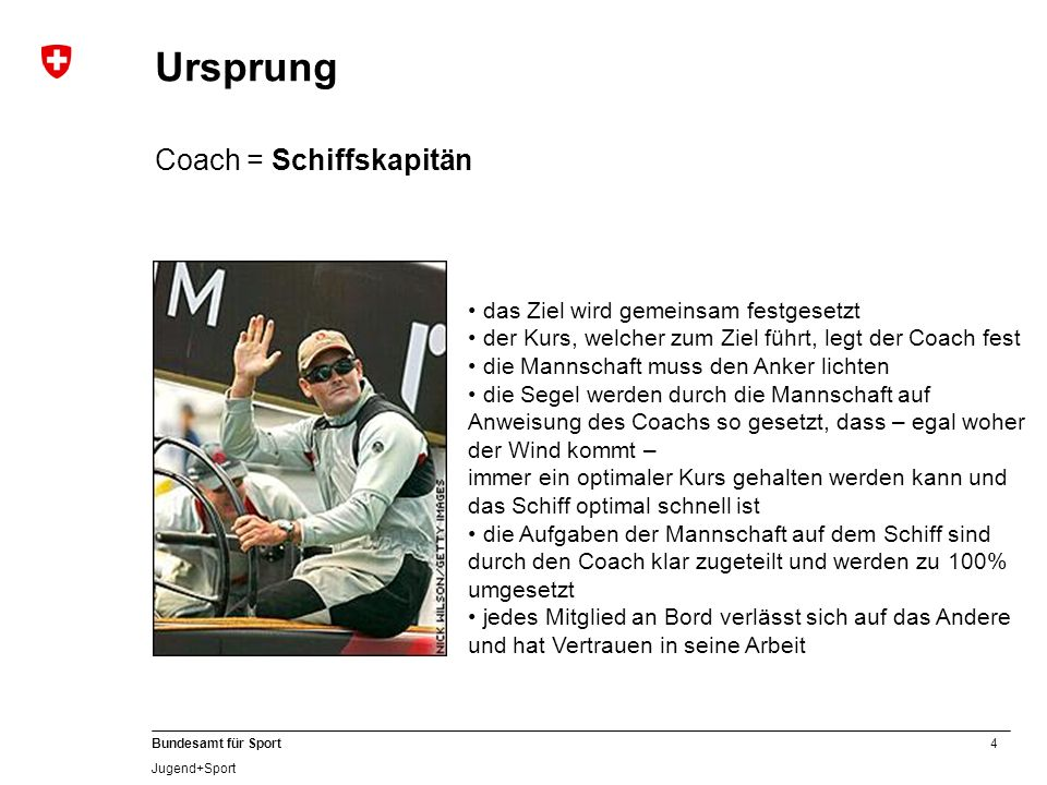 Ursprung Coach = Schiffskapitän das Ziel wird gemeinsam festgesetzt