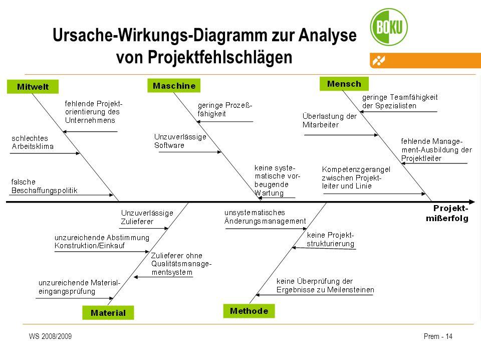 Ursache-Wirkungs-Diagramm zur Analyse von Projektfehlschlägen