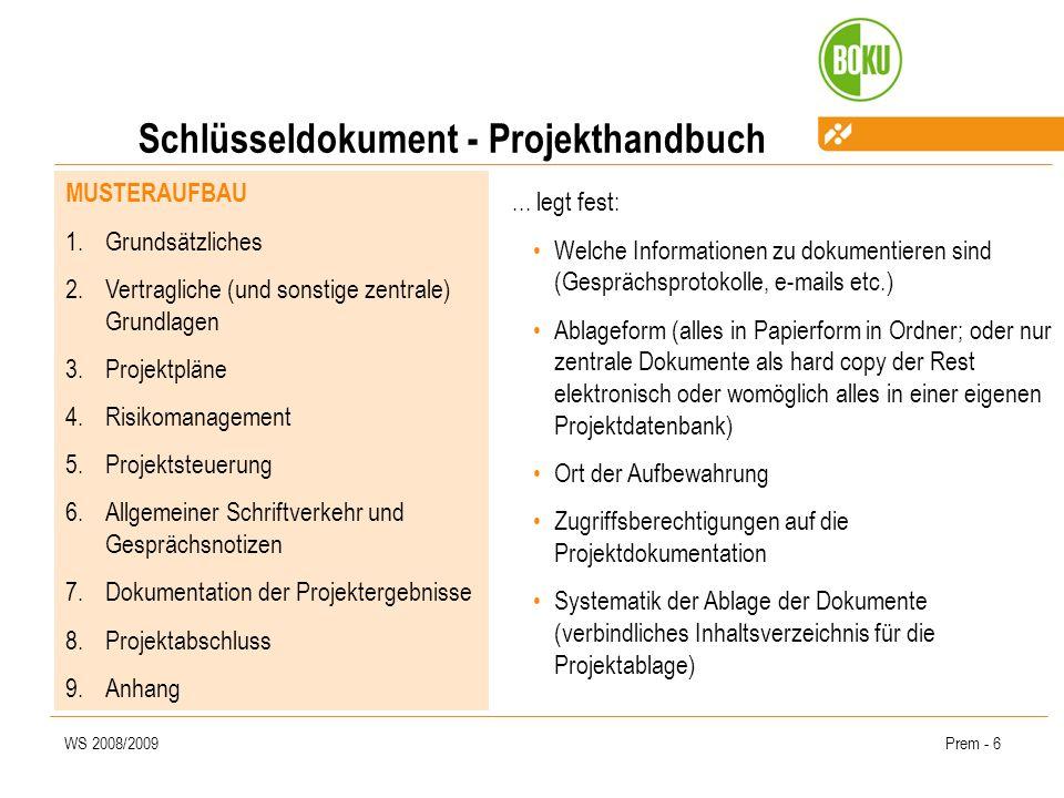 Schlüsseldokument - Projekthandbuch