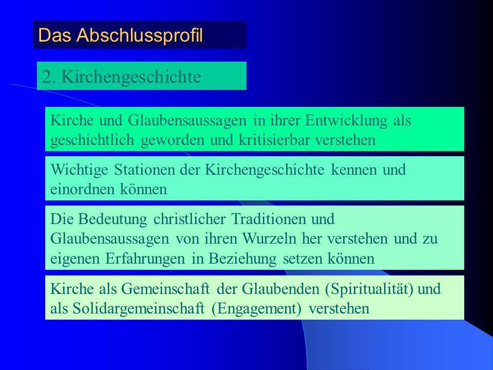 Das Abschlussprofil 2. Kirchengeschichte