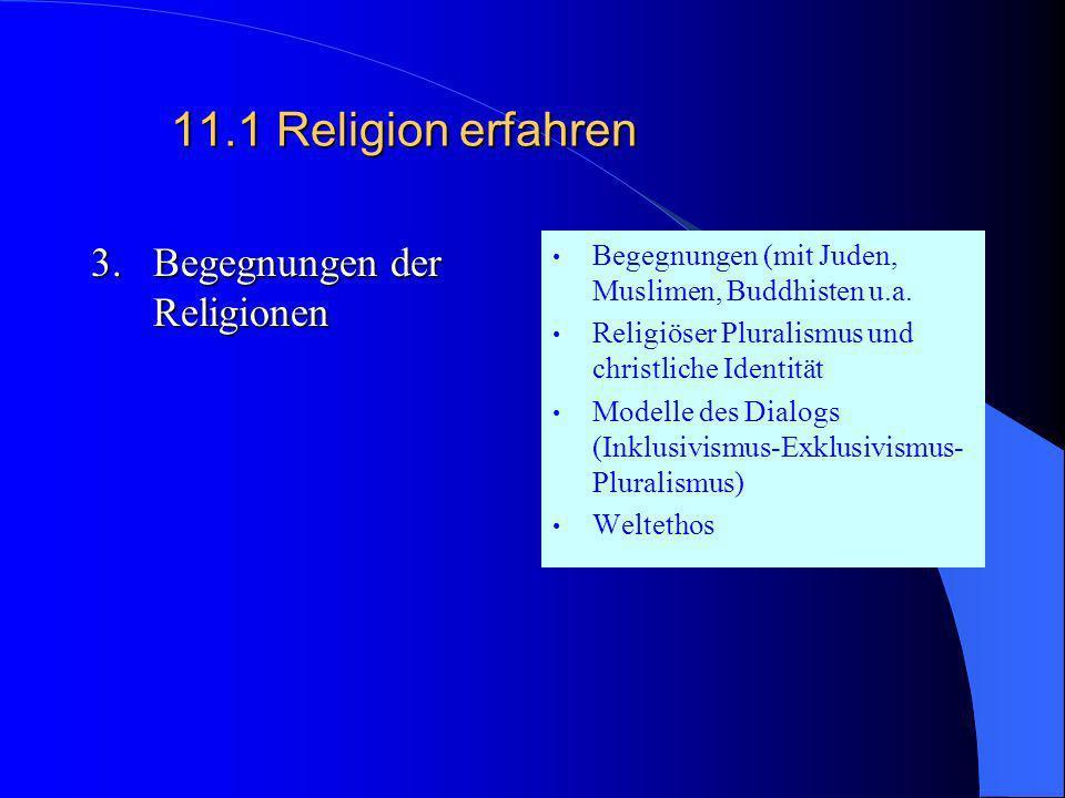 11.1 Religion erfahren 3. Begegnungen der Religionen