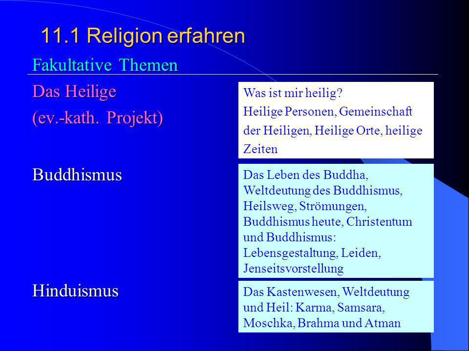 11.1 Religion erfahren Fakultative Themen Das Heilige