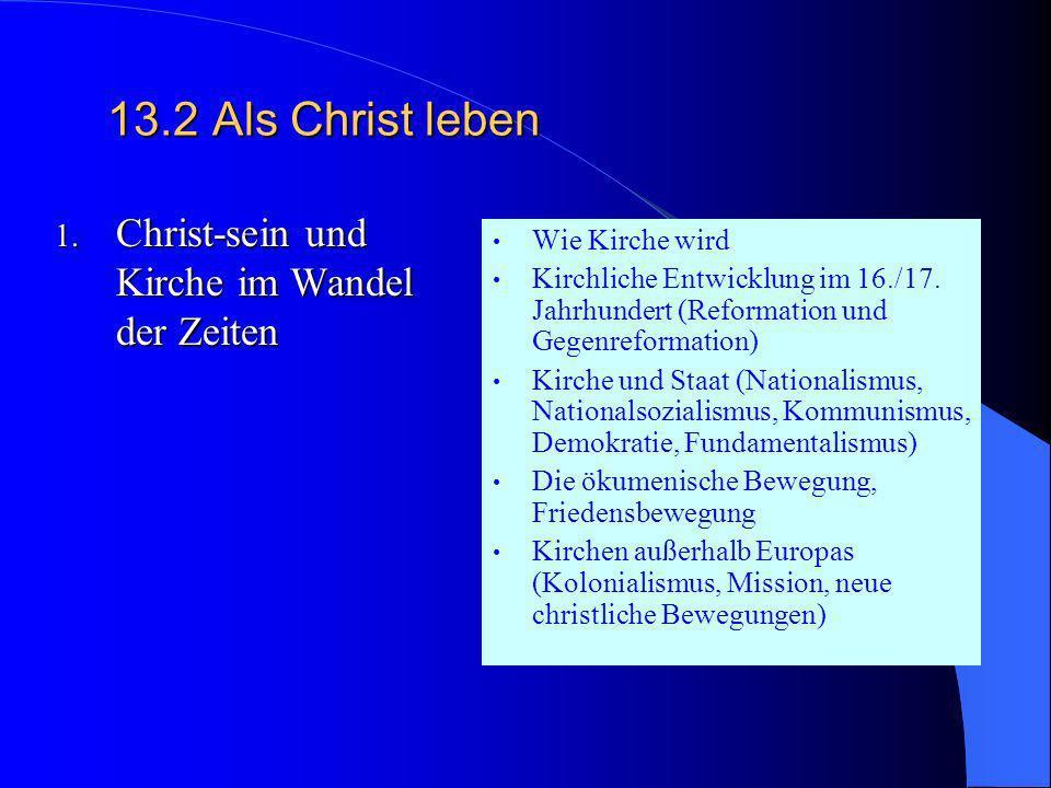 13.2 Als Christ leben Christ-sein und Kirche im Wandel der Zeiten
