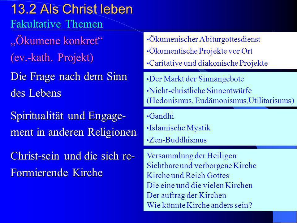 """13.2 Als Christ leben Fakultative Themen """"Ökumene konkret"""