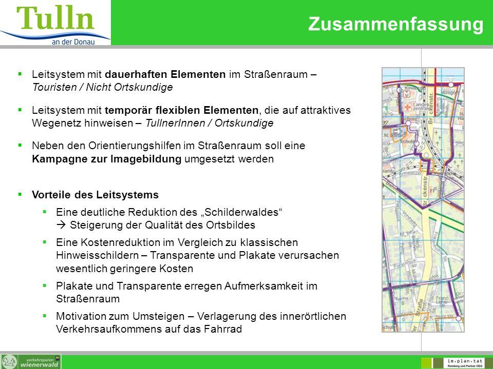 Zusammenfassung Leitsystem mit dauerhaften Elementen im Straßenraum – Touristen / Nicht Ortskundige.