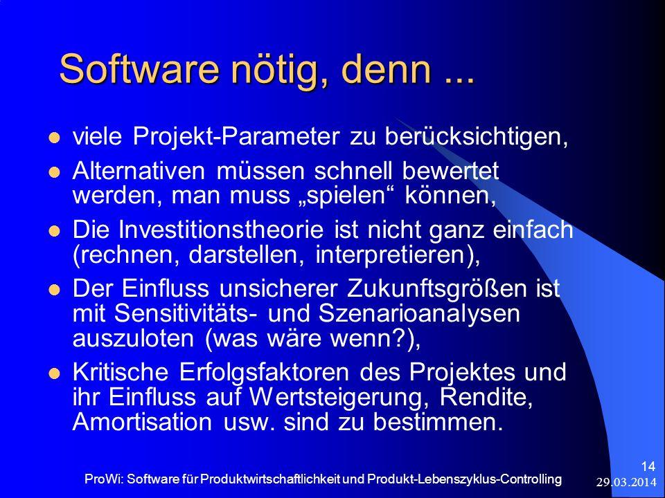 Software nötig, denn ... viele Projekt-Parameter zu berücksichtigen,