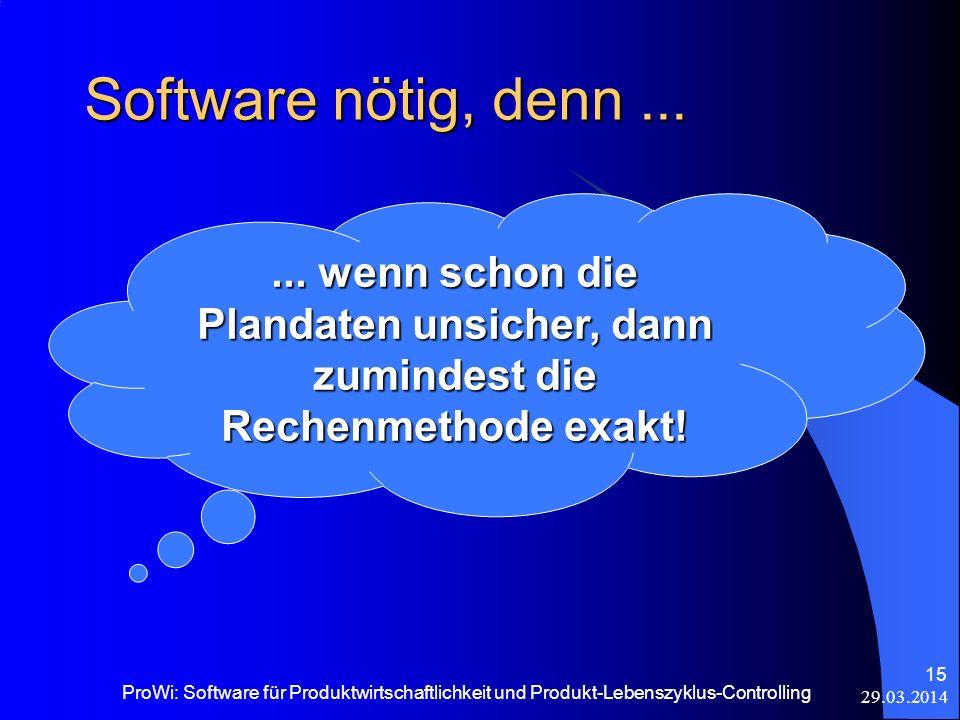 Software nötig, denn ... ... wenn schon die Plandaten unsicher, dann zumindest die Rechenmethode exakt!