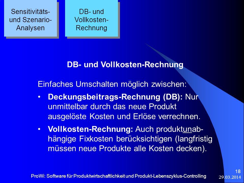 DB- und Vollkosten-Rechnung Einfaches Umschalten möglich zwischen: