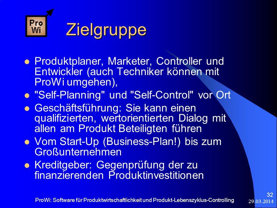 Zielgruppe Produktplaner, Marketer, Controller und Entwickler (auch Techniker können mit ProWi umgehen),
