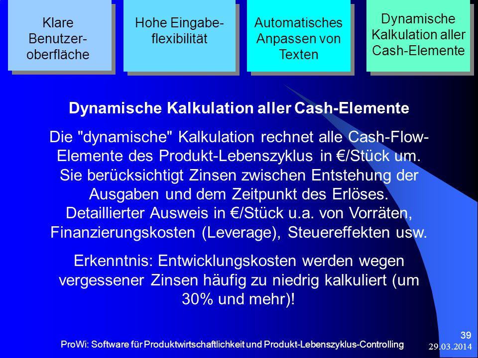 Dynamische Kalkulation aller Cash-Elemente
