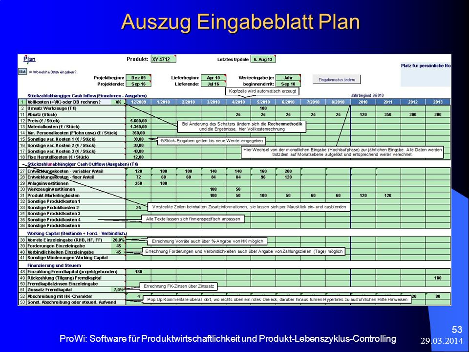 Auszug Eingabeblatt Plan