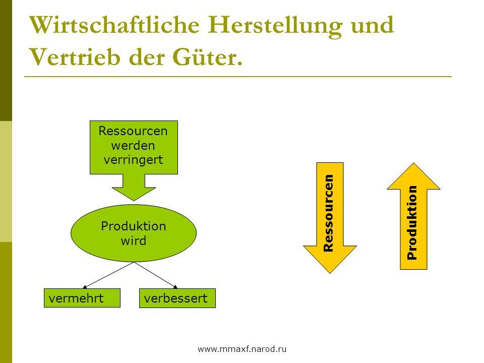 Wirtschaftliche Herstellung und Vertrieb der Güter.