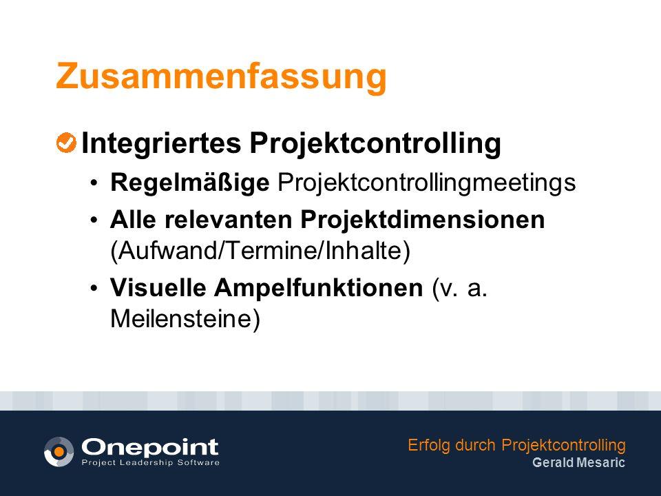 Zusammenfassung Integriertes Projektcontrolling
