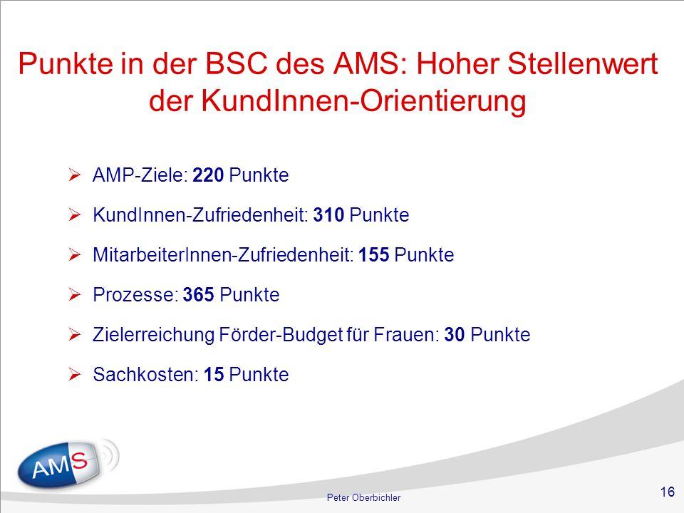 Punkte in der BSC des AMS: Hoher Stellenwert der KundInnen-Orientierung