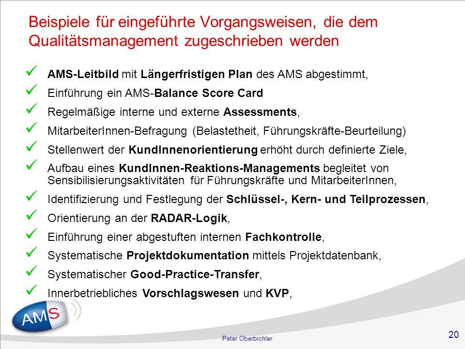 Beispiele für eingeführte Vorgangsweisen, die dem Qualitätsmanagement zugeschrieben werden