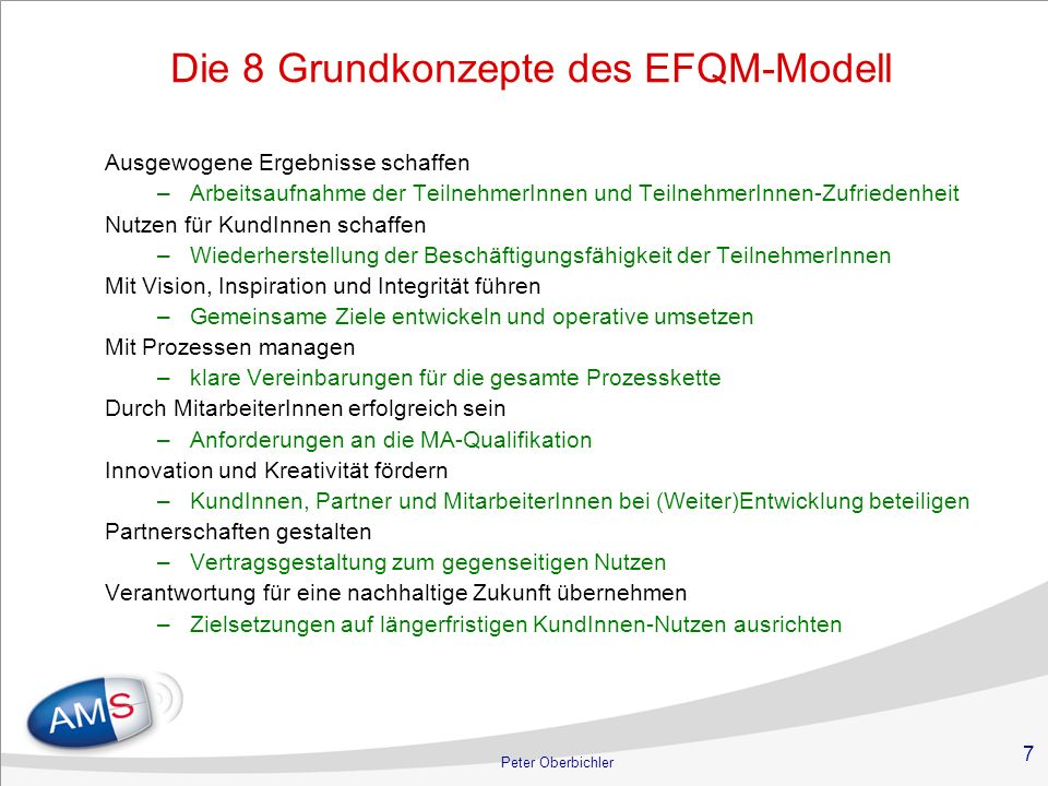 Die 8 Grundkonzepte des EFQM-Modell