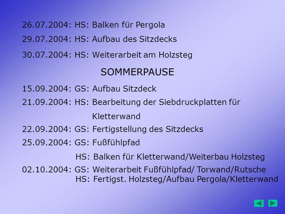 SOMMERPAUSE 26.07.2004: HS: Balken für Pergola