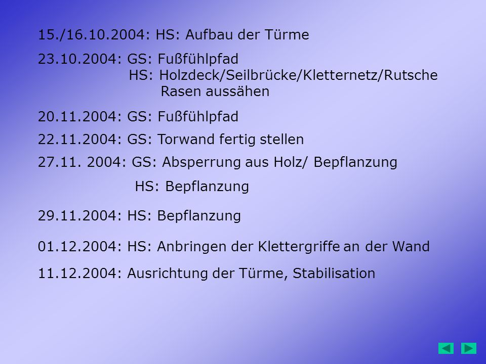 15./16.10.2004: HS: Aufbau der Türme 23.10.2004: GS: Fußfühlpfad. HS: Holzdeck/Seilbrücke/Kletternetz/Rutsche.