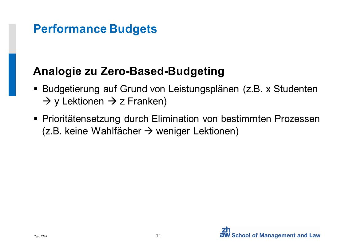Performance Budgets Analogie zu Zero-Based-Budgeting