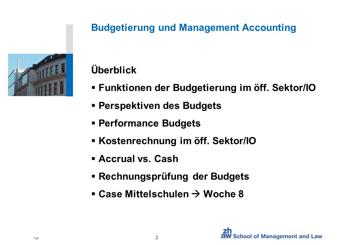 Budgetierung und Management Accounting