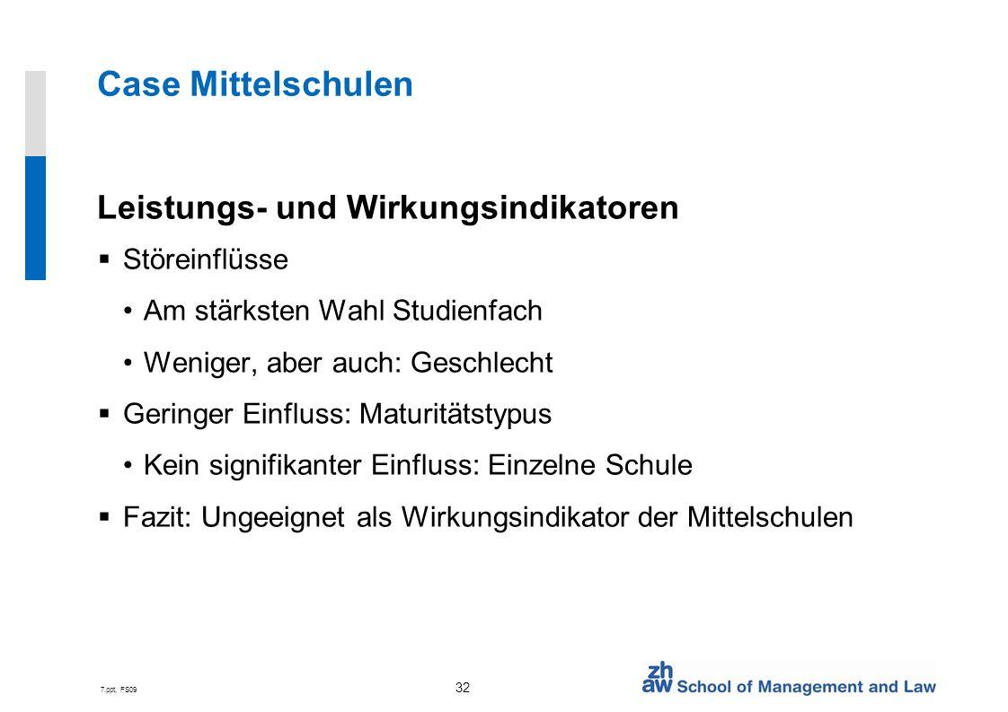 Case Mittelschulen Leistungs- und Wirkungsindikatoren Störeinflüsse