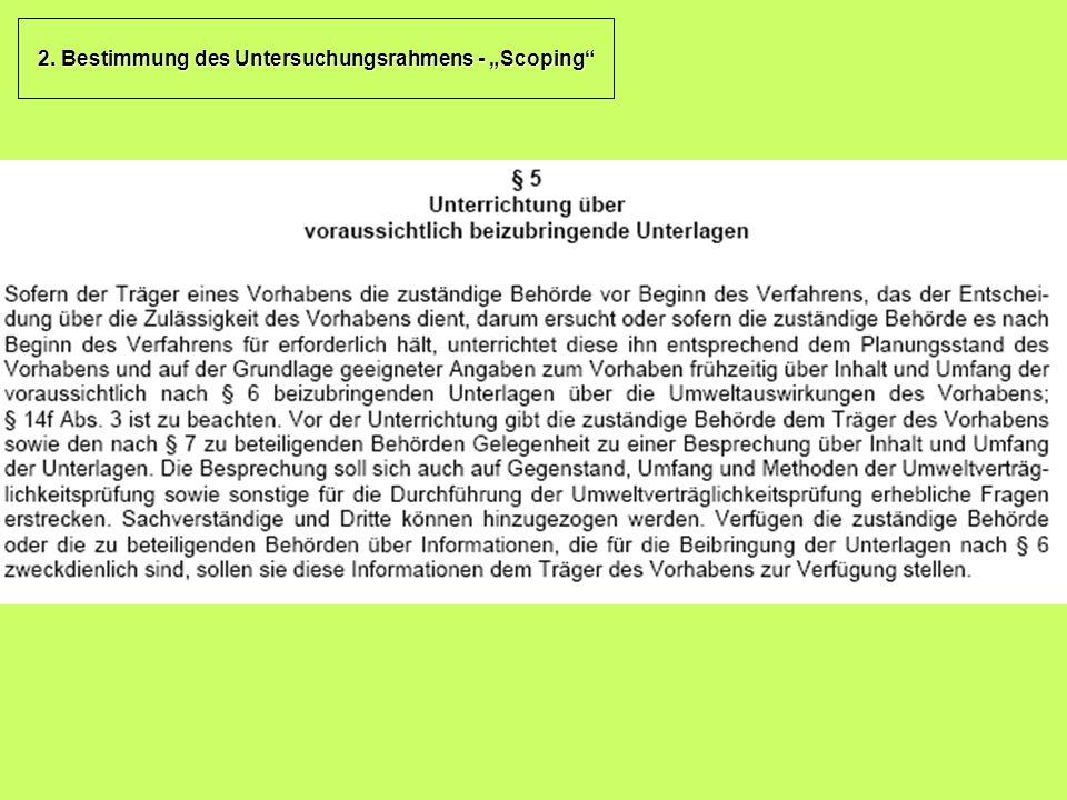 """2. Bestimmung des Untersuchungsrahmens - """"Scoping"""