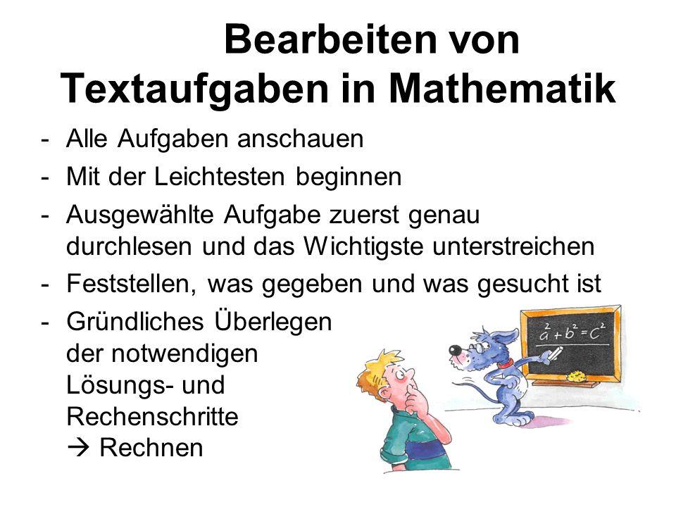Bearbeiten von Textaufgaben in Mathematik