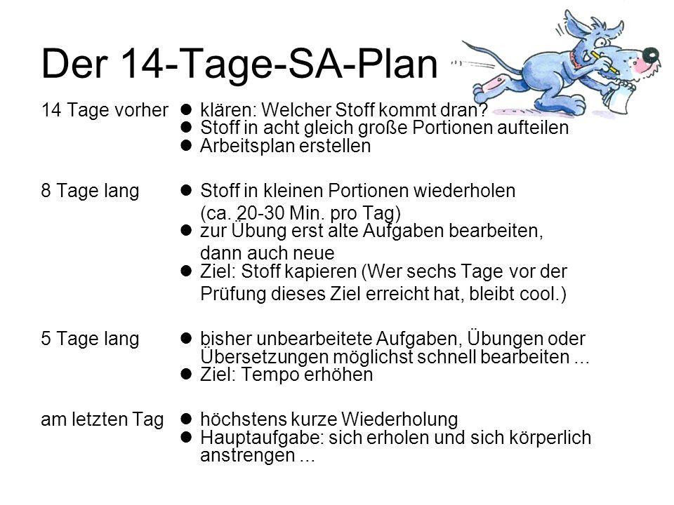 Der 14-Tage-SA-Plan 14 Tage vorher  klären: Welcher Stoff kommt dran  Stoff in acht gleich große Portionen aufteilen  Arbeitsplan erstellen.