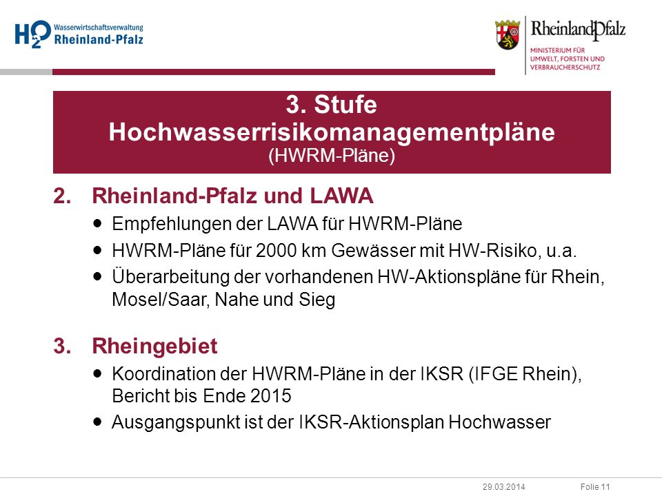 3. Stufe Hochwasserrisikomanagementpläne (HWRM-Pläne)