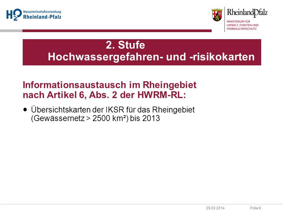2. Stufe Hochwassergefahren- und -risikokarten