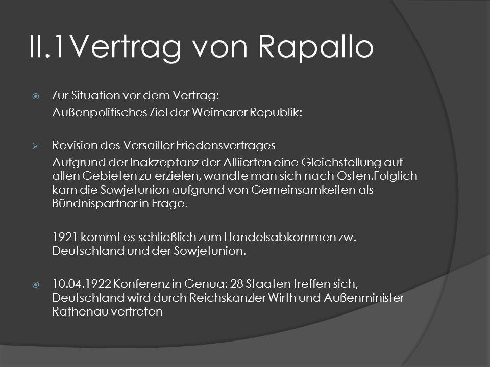 II.1Vertrag von Rapallo Zur Situation vor dem Vertrag: