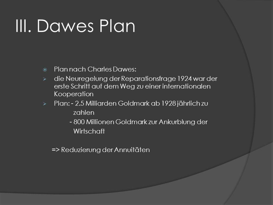 III. Dawes Plan Plan nach Charles Dawes: