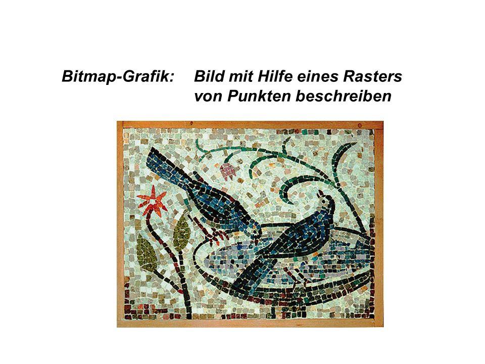 Bitmap-Grafik: Bild mit Hilfe eines Rasters von Punkten beschreiben