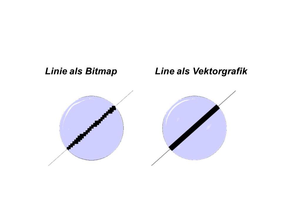 Linie als Bitmap Line als Vektorgrafik