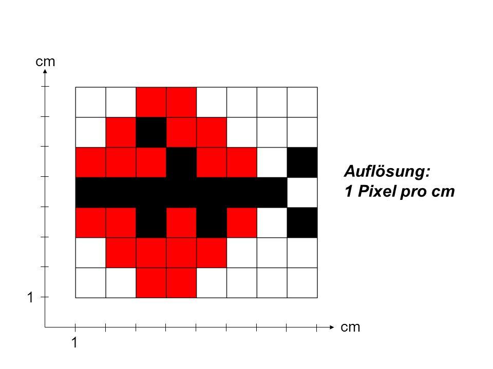 Auflösung: 1 Pixel pro cm cm 1